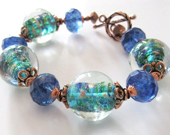 Ocean Blues Lampwork Bracelet, Art Glass Bracelet, Copper Accents, Blue Green Statement Bracelet
