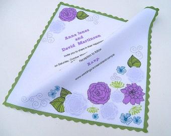 Rustic wedding handkerchief, purple and kiwi