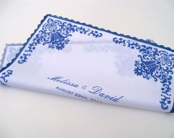 Personalized Wedding Handkerchief, Something Blue Damask Wedding Gift, Mother of the Bride or Groom