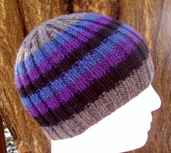 KNITTING PATTERN/FINN Mans Striped Ribbed Hat/Knit Straight/ Mans Stripe Hat ...