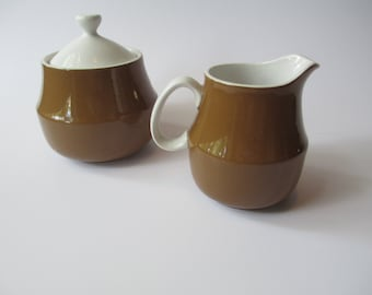 Mod Vintage Mikasa Cera-Stone Brown and White Cream & Sugar Set