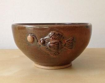 Lantern Fish - 14 oz Bowl - Warm brown with hand built sea creature