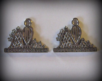 4 Silver Pewter Rollercoaster Charms (qb5)