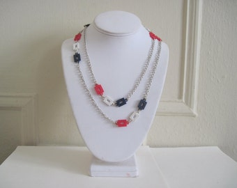 sailor chic, vintage 1960s Long Strand Necklace - white enamel and MOD red, navy, &  white links