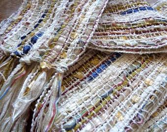 handwoven scarf, in a sheer creamy winter white blend