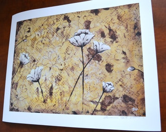 Vintage White Poppies Print