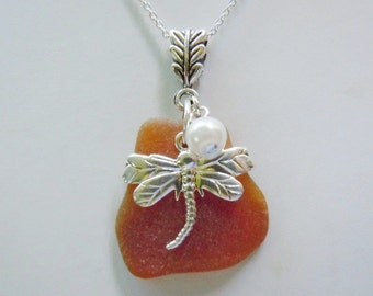 Sale Amber Beach Glass Dragonfly Necklace Sea Glass Necklace Seaglass Eco Friendly Jewelry