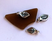 Leaves THREE Tiny Sterling Silver Charms
