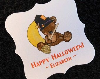 Personalized Halloween Party Favor Tags, teddy bear with witches hat and broom, set of 20