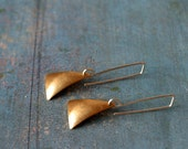 Triangle - goldish brushed triangles  on a sterling silver hook
