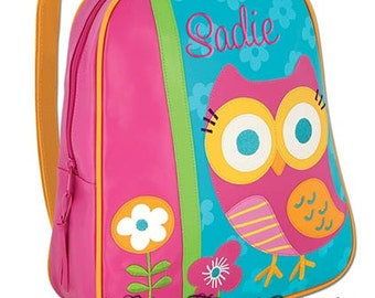 Girls Backpack Personalized Owl Stephen Joseph Go Go Preschool Toddler