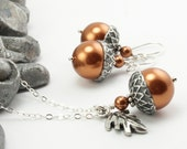 Acorn Jewelry, Oak Leaf Necklace Acorn Necklace and Earrings Set with Copper Swarovski Pearls and Oak Leaf Charm . Sterling Silver Chain