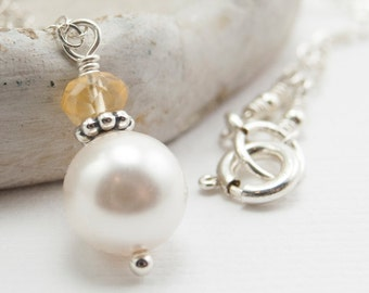November Birthstone Necklace, Citrine Gemstone and White Swarovski Pearl Necklace, Citrine Necklace Sterling Silver, Pendant Necklace