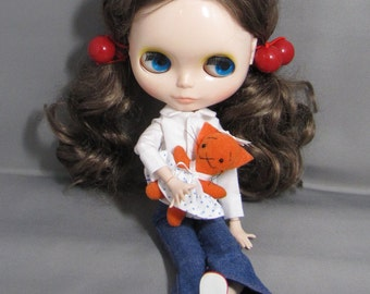 Tiny Orange Kitty Girl Pin Stuffed Animal for Your Dolls