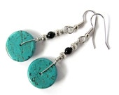 Turquoise Dangle Earrings Wire Wrapped Magnesite Black Beads Handmade Stone Jewelry by Hendywood