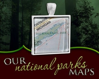 Isle Royale National Park Map Pendant