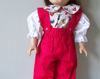 Handmade Doll Dress or 18 inch doll outfit Christmas Red Overalls