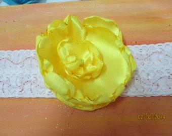 "Wedding Garter  2"" Stretch lace with handmade flower  Bridal Garter Pearl Center Yellow"