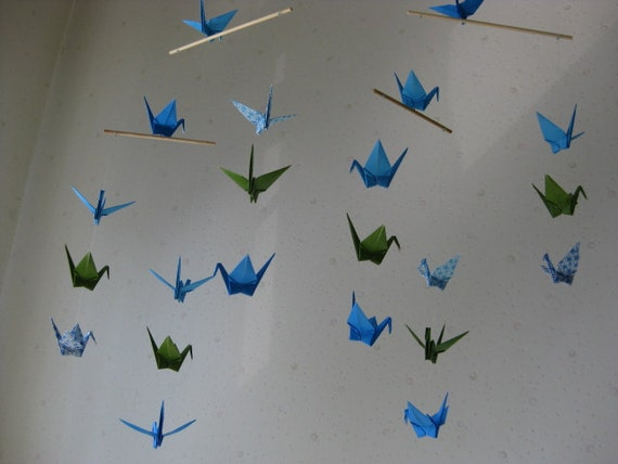"""22 Small Origami Cranes Mobile - New Beginnings and Growth, folded from 2.8"""" to 3"""" Solid and Chiyogami, Home Decor, Nursery Dedor, Kawaii"""