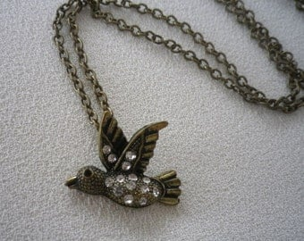 SALE Brass and Rhinestone Bird Pendant and Chain