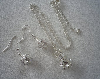 Sale  Silver and Rhinestone Pendant and Earrings Set