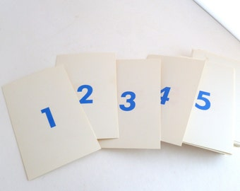Flash Cards Numbers - set of 100 - blue on one side red on the other - wedding table numbers