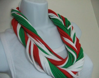 Red White Green Multi Strand Infinity T Shirt Scarf Necklace Christmas Colors