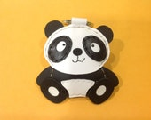 Leather Keychain - Siopao the Panda leather charm ( White )