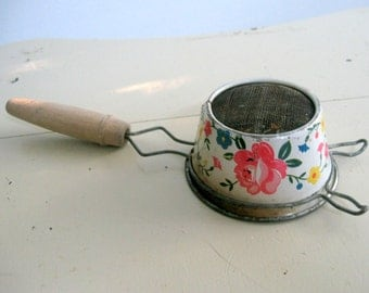 Little Tin Hand Sifter Tea Strainer Vintage Kitchen Utensil Roses