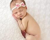 Pink Velveteen - Or YOU CHOOSE COLOR - Mini Pink Velvet Lace Bow Headband - Newborn Infant Baby Girl Toddler Adult