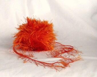yarn, fur, Fun Fur 133, Lion Brand, orange, bright, F, destash