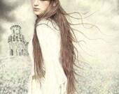 Original Colored Pencil Painting Portrait of Celtic Irish Legend Isolde