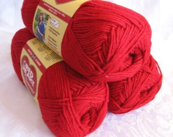 Red Heart Shimmer yarn,  RED yarn with red metallic thread, worsted weight, red sparkle yarn