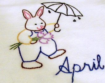 Hand Embroider-Mr Rabbit walking in the rain