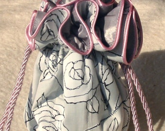 Bridesmaid Jewelry Bag, Travel Jewelry Bags, Jewelry Organizer in grey and pink Rose
