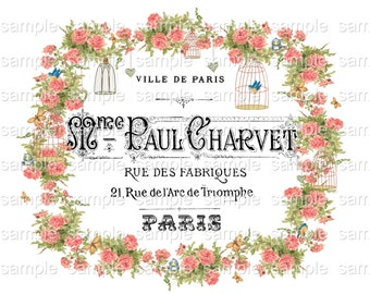 INSTANT DOWNLOAD - Paul Charvet Fabriques  -  Transfer Pattern or Frameable Wall Art - Large Single Image- Roses Florals Flowers French