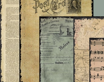 19 Full Size Sheets of Old Vintage Papers   - Journaling Papers and Postcards -  Printable Collage Sheet - Digital Download paper pack