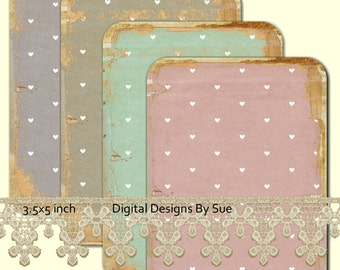 Instant Download - No. 8891 -   Printable Digital Collage Sheet  - Romantic Downloads Hang Tags Scrapbooking