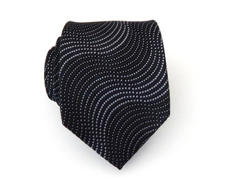 Mens Ties Necktie Black and Silver Mens Tie