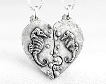 Puzzle Piece Heart Necklace Seahorse Sea Horse Jewelry Sterling Silver