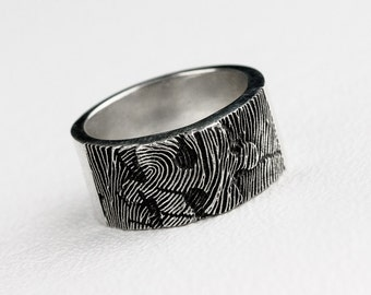 Fingerprint Puzzle Ring Wedding Band Personalized Sterling Silver Jewelry