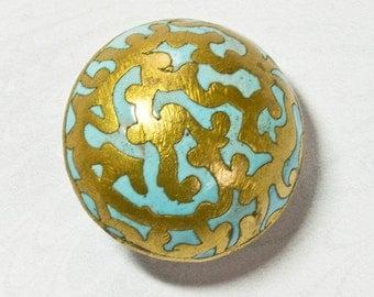 Edwardian Turquoise Brass Button; Cloisonné Enamel, High Domed, Antique Circa 1890 -1910