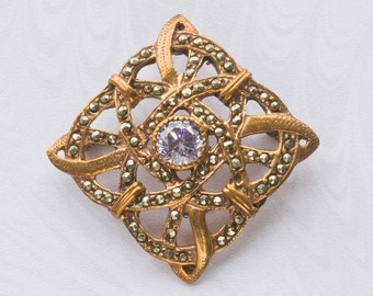 REDUCED Edwardian Celtic Style Marcasite Convertible Brooch/Pendant, Sparkling Pale Mauve Rhinestone,Dual Purpose 1910's.FREE UK Postage