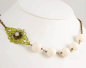 Bib Necklace - Filigree Wire wrapped Necklace - Sage Green Cream Brass Accessories Jewelry Gifts for Her Under 30