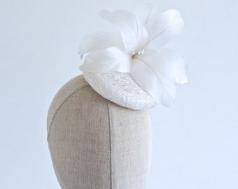 White Feather Flower Cocktail Hat Bridal Mini Hat Millinery Fascinator