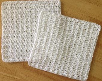 White Crochet Cotton Dishcloth set of 2