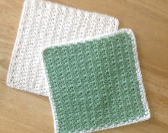 Crochet Cotton Dishcloth set of 2 one White and one Light Green