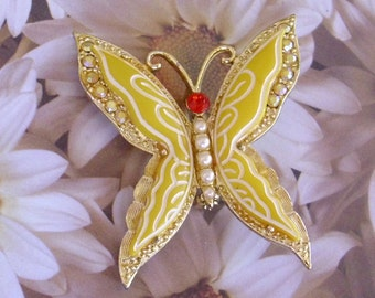 Reserved Big Yellow Butterfly Vintage Glass Brooch