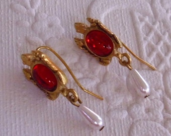 Red Turtle Earrings Vintage