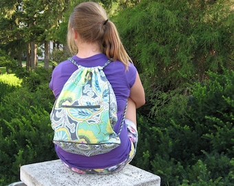 Green and Grey Drawstring Backpack Back to School Trend Setting Made to order
